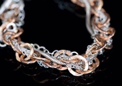 'Tangled' Silver Chain and Rose Rolled Gold Bracelet