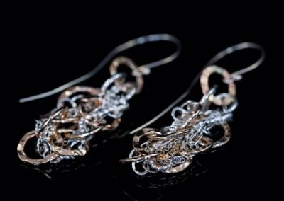 'Tangled' Silver Chain and Rolled Gold Earrings