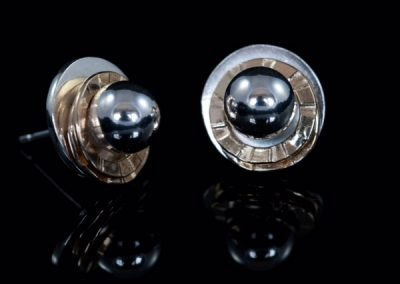 'Planet' Silver and Rolled Gold Stud Earrings