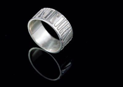 'Woodland' Etched Silver Ring